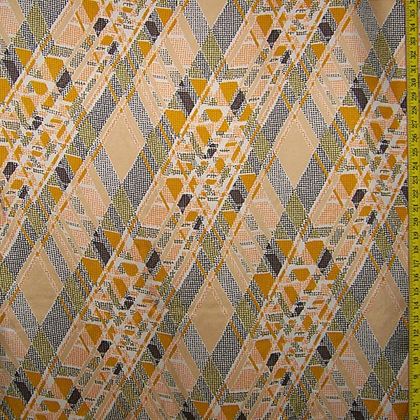 Retro Geometric Silk Crepe de Chine Fabric