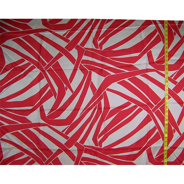 Red & White Retro Abstract Silk Fabric
