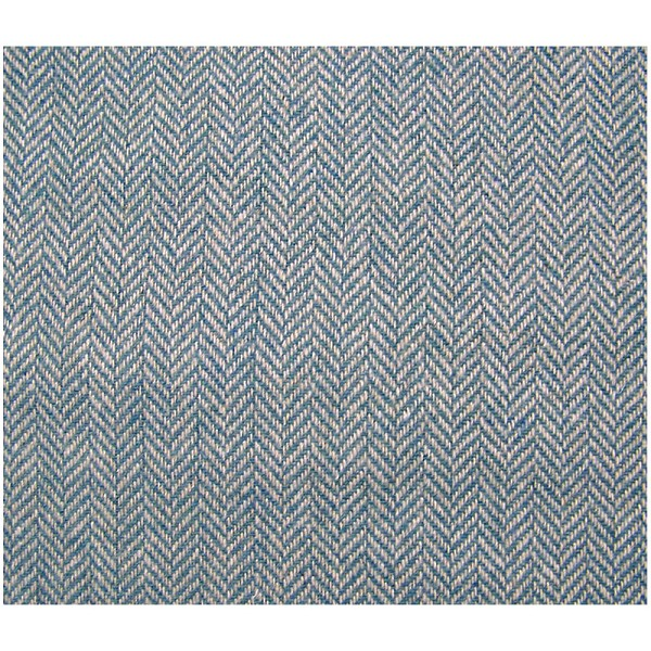 Blue White Herringbone Wool Blend Fabric